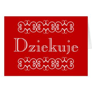 Obrigado polonês você cartão de nota Dziekuje do