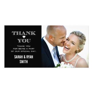 Obrigado preto & branco da foto do casamento do cartão com foto