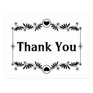 Obrigado preto & branco você casamento floral do cartão postal