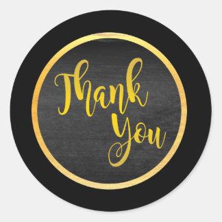 Obrigado preto do ouro você adesivo redondo