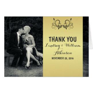 Obrigado preto e branco da foto pura da elegância cartão de nota