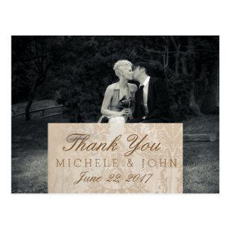 Obrigado preto e branco da foto pura da elegância cartão postal