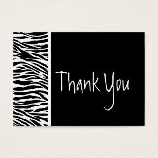 Obrigado preto e branco da zebra e do casamento cartão de visitas