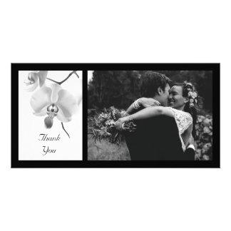 Obrigado preto e branco das orquídeas você cartão
