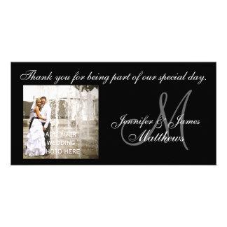 Obrigado preto e branco do casamento você cartões  cartão com foto