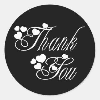 Obrigado preto e branco você ama corações - adesivo