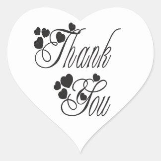 Obrigado preto e branco você ama corações - adesivo coração