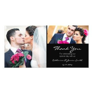 Obrigado preto padrão do casamento você cartão com cartão com foto