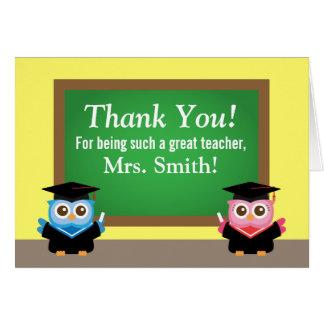 Obrigado professor, adeus da graduação, corujas cartão comemorativo