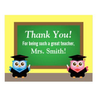 Obrigado professor, adeus da graduação, corujas cartão postal