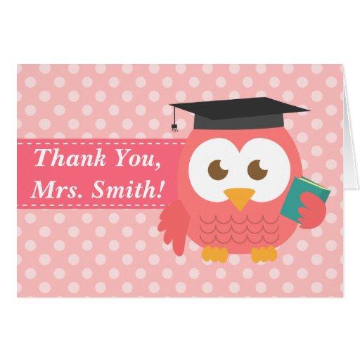 Obrigado professor, coruja do professor, bolinhas  cartão