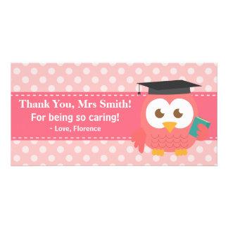 Obrigado professor, coruja do professor, bolinhas  cartão com foto