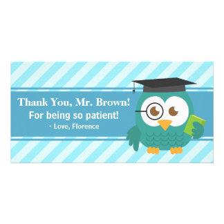 Obrigado professor, coruja do professor, paciência cartão com foto