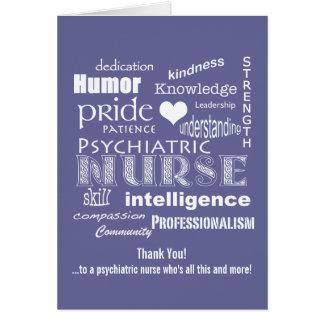 Obrigado psiquiátrica da enfermeira você exprime a cartão comemorativo