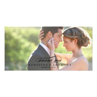 Obrigado puro do casamento da elegância você - pre cartão com foto