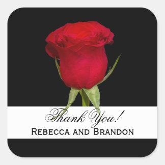 Obrigado quadrado do casamento da rosa vermelha adesivo quadrado