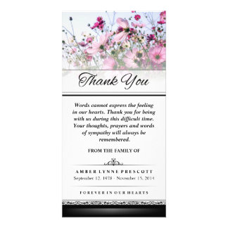 Obrigado que as palavras cor-de-rosa do campo de cartão com foto personalizado