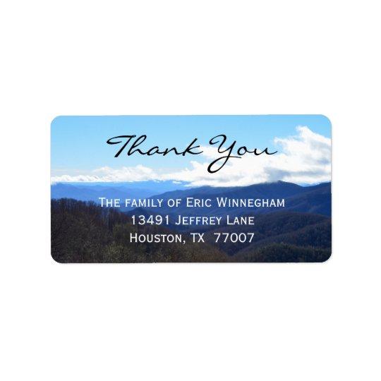 Obrigado que da montanha você etiqueta etiqueta de endereço
