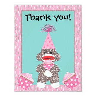 Obrigado que do cupcake do macaco da peúga do bebê convite
