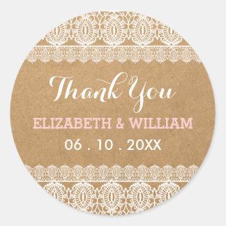 Obrigado que do laço rústico & do casamento de adesivo