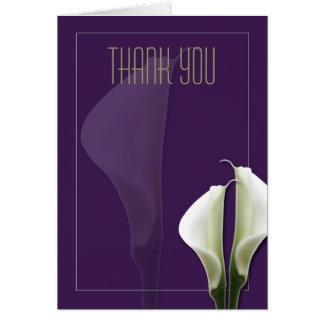 Obrigado que do lírio de Calla você nota no roxo Cartão De Nota