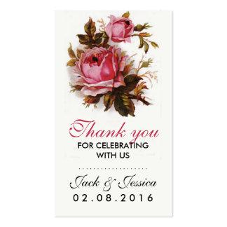 Obrigado que do rosa do rosa do vintage você cartão de visita