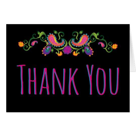 Obrigado que floral preto personaliza o cartão de