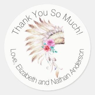 Obrigado que indiano da mantilha da aguarela você adesivo