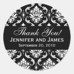 Obrigado que preto e branco do damasco do casament adesivos