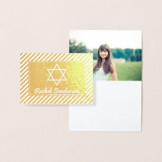 Obrigado real de Mitzvah do bastão da foto da Cartão Metalizado