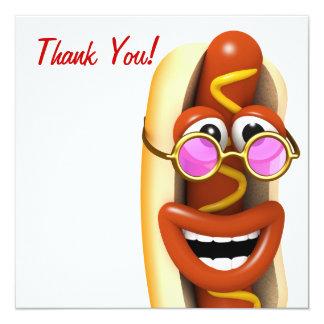 Obrigado! Refrigere o cachorro quente do hippy Convite Quadrado 13.35 X 13.35cm