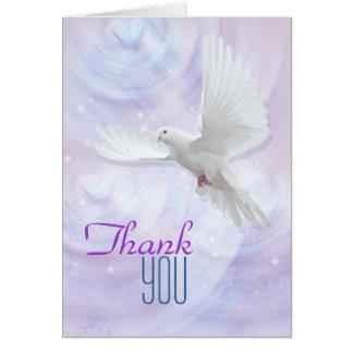 Obrigado religioso da pomba da confirmação você cartão de nota