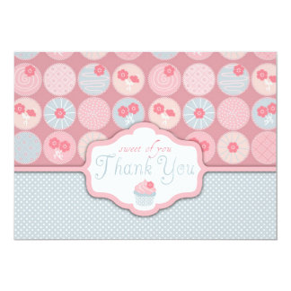 Obrigado retro doce do cupcake da flor você convite 12.7 x 17.78cm