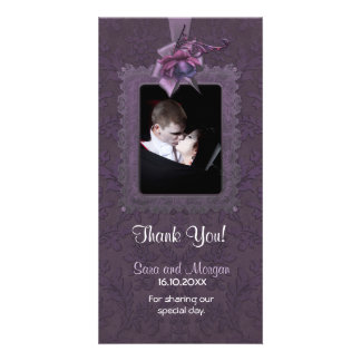 Obrigado romance escuro do casamento você cartão com fotos