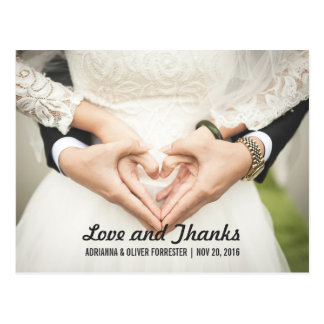 Obrigado romântico bonito do casamento da foto dos cartão postal