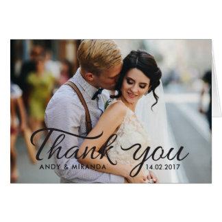 Obrigado romântico da foto do cartão de nota do