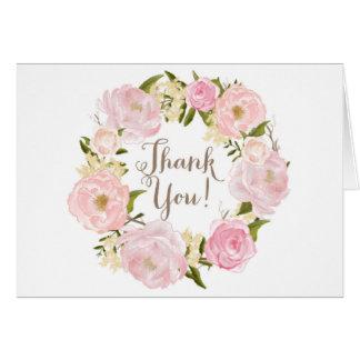 Obrigado romântico da grinalda das peônias da cartão comemorativo