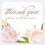 Obrigado romântico das flores da aguarela você adesivo em forma quadrada