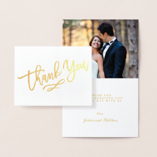 Obrigado rotulado mão do casamento da folha de cartão metalizado