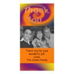obrigado roxo alaranjado você cartão com fotos personalizado