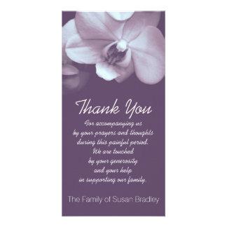 Obrigado roxo da simpatia da orquídea você cartão