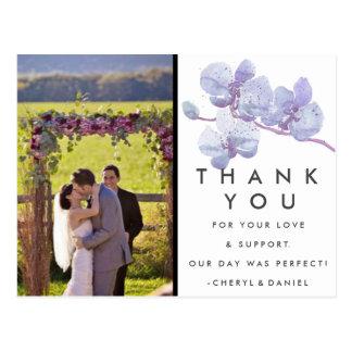 Obrigado roxo do casamento da orquídea você cartão