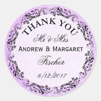 Obrigado roxo do casamento você etiquetas adesivo