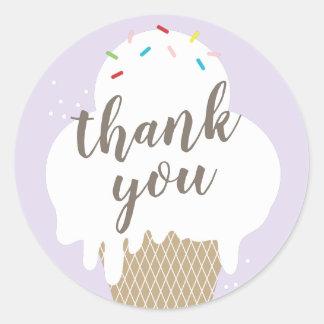 Obrigado roxo do cone do sorvete você etiqueta
