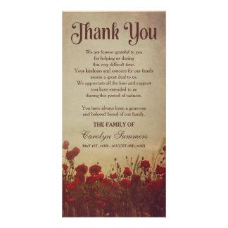 Obrigado rústico da simpatia do campo | da papoila cartão