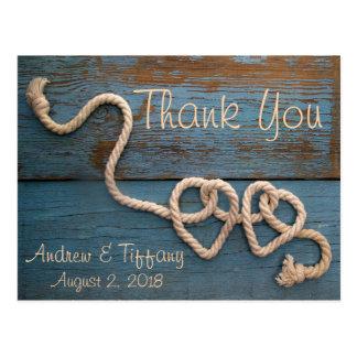 Obrigado rústico do casamento da corda do coração cartão postal