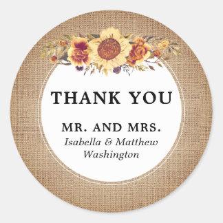 Obrigado rústico do casamento do girassol de adesivo