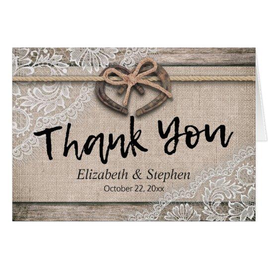 Obrigado rústico do casamento do laço de cartão de nota