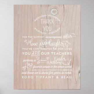 Obrigado rústico do casamento você sinal do poster