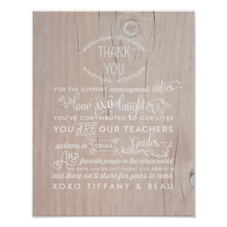 Obrigado rústico do casamento você sinal do poster pôster